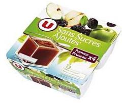Dessert sans sucre ajouté pomme pruneau U, 4x100g - 0,98 € (2,45€/kg)